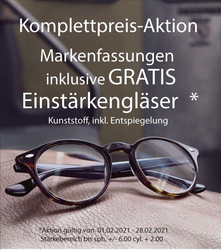 Komplettpreis-Aktion: Markenfassung + Einstärkengläser